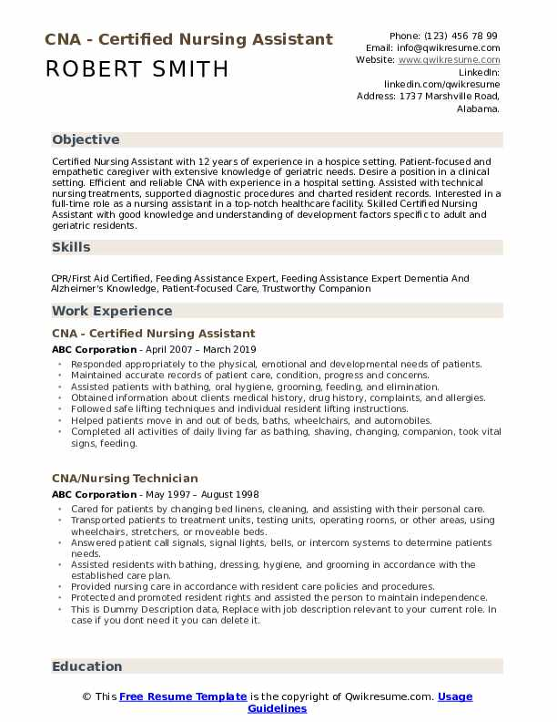 cna resume samples qwikresume free templates for certified nursing assistant pdf entry Resume Free Resume Templates For Certified Nursing Assistant