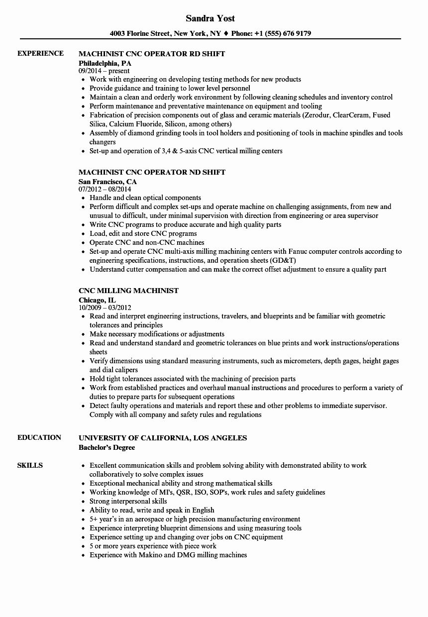 cnc machine operator resume awesome machinist samples template job sample description of Resume Cnc Operator Resume Sample