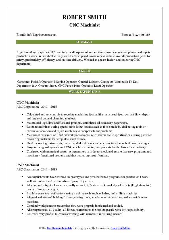 cnc machinist resume samples qwikresume template pdf law enforcement cover letter sample Resume Cnc Machinist Resume Template