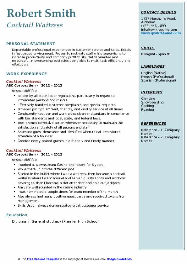 cocktail waitress resume samples qwikresume hospitality pdf personality development Resume Hospitality Resume Waitress
