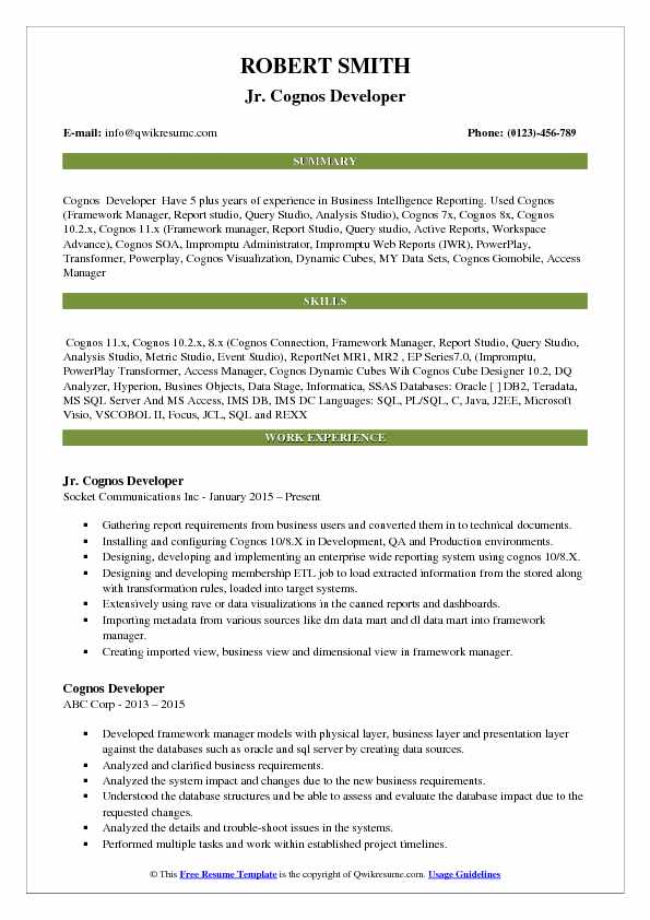 cognos developer resume samples qwikresume sample for report pdf headline tagline cover Resume Sample Resume For Cognos Report Developer
