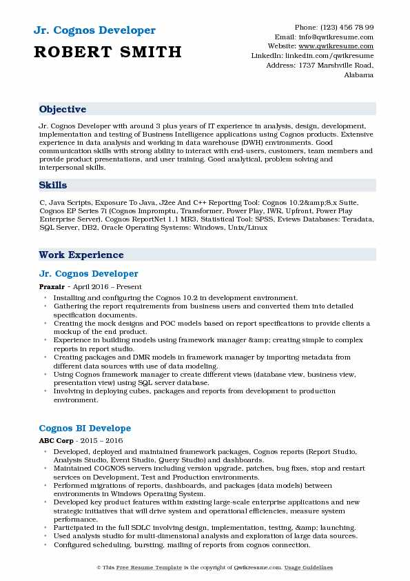 cognos developer resume samples qwikresume sample for report pdf headline tagline job Resume Sample Resume For Cognos Report Developer