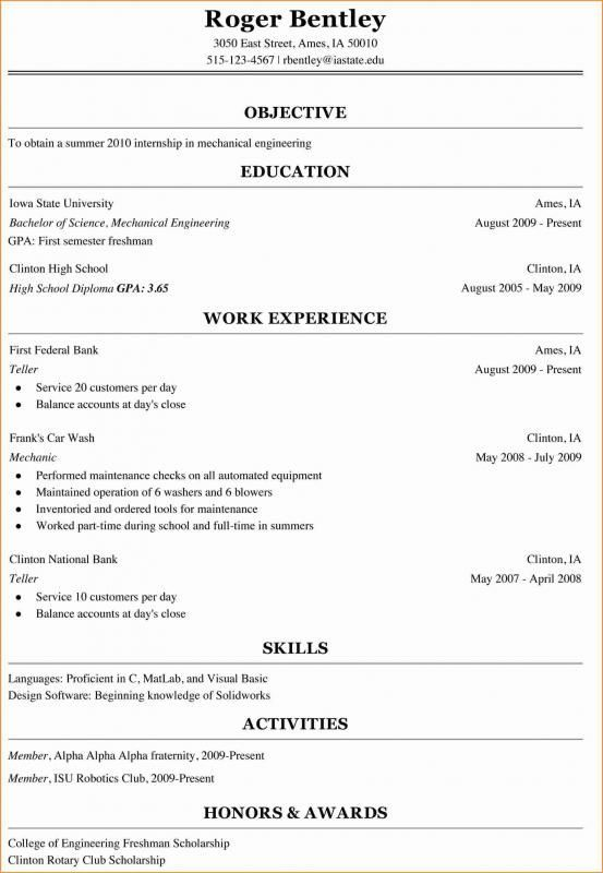 college freshman resume template student for first year sterile processing printing paper Resume Resume For First Year Student