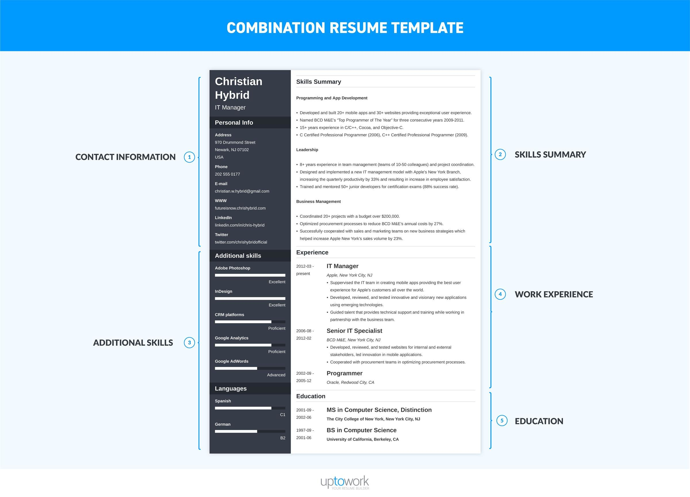 combination resume template combo examples format infographic elementary school apartment Resume Combination Resume Format Template