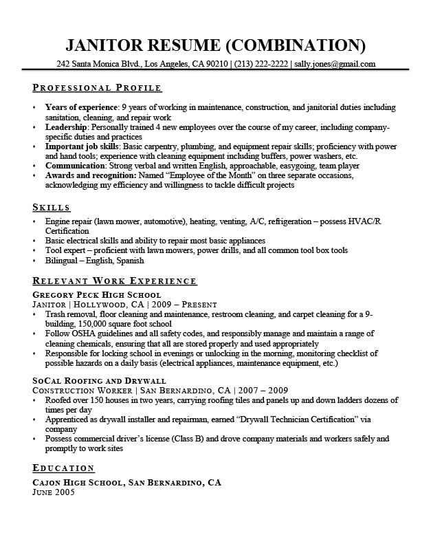 combination resume template examples writing guide format janitor sample perfect font for Resume Combination Resume Format Template