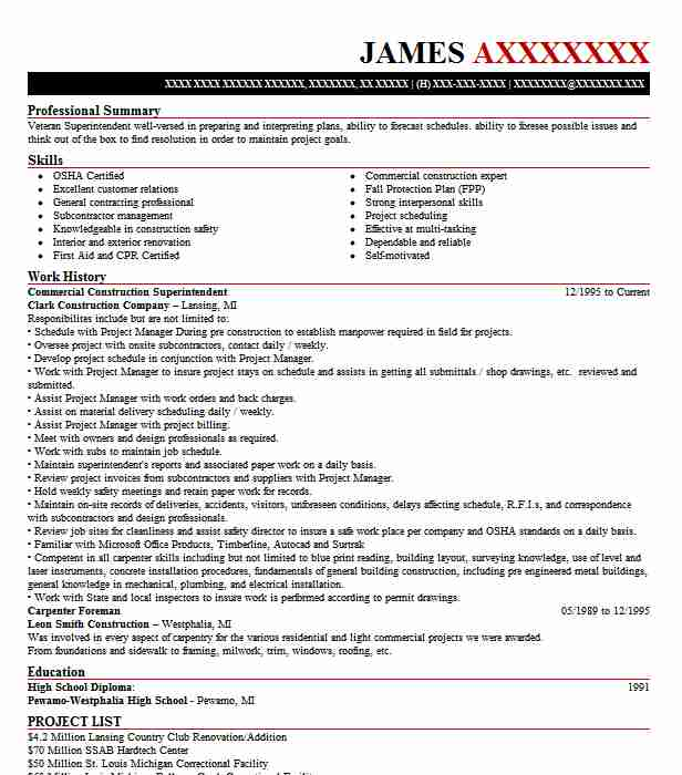 commercial construction superintendent resume example livecareer pdf golf caddy content Resume Construction Superintendent Resume Pdf