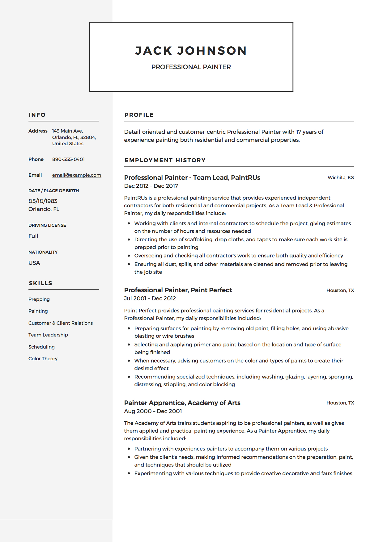 commercial painter resume guide samples pdf skills for professional example technical Resume Painter Skills For Resume