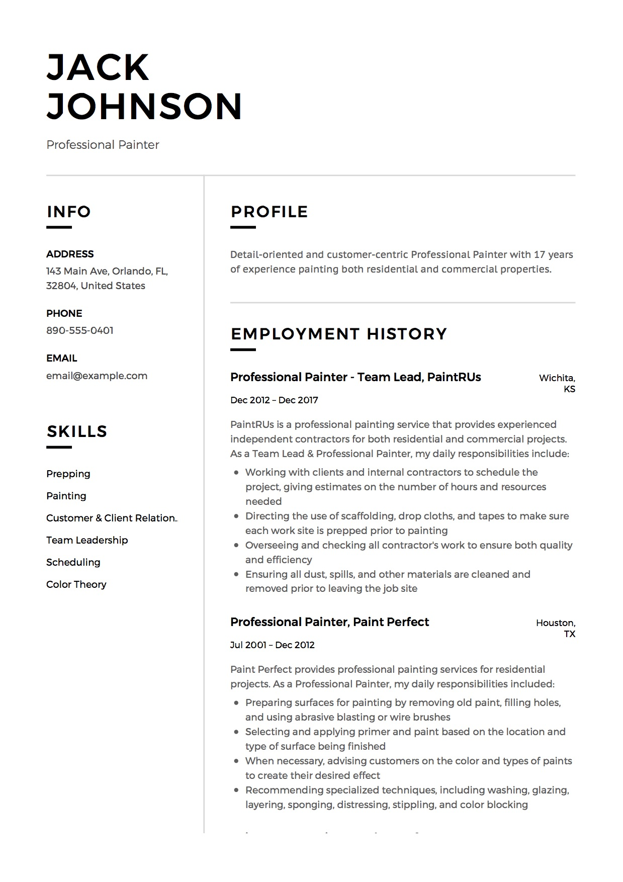 commercial painter resume guide samples pdf skills for professional star statements Resume Painter Skills For Resume