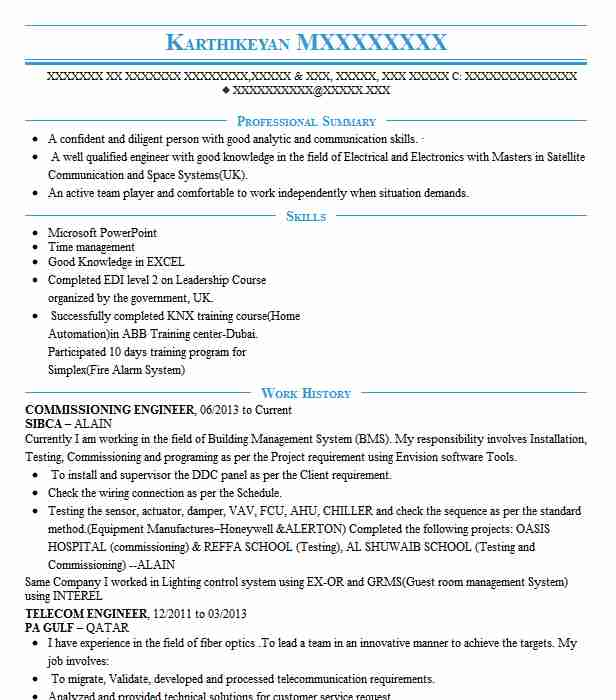 commissioning engineer resume example technical resumes livecareer unc template summary Resume Commissioning Engineer Resume