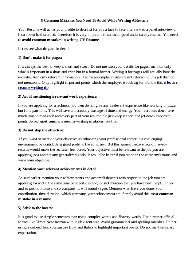 common mistakes you need to avoid while writing resume done hire professional writer Resume Need A Resume Done