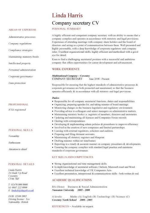 company secretary cv sample job description and activities secretaries resume skills pic Resume Secretary Resume Skills
