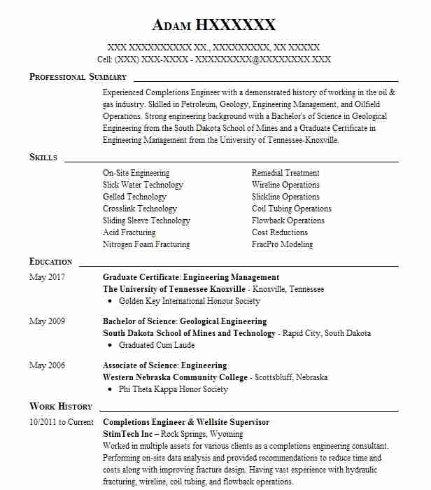 completions engineer resume example conocophillips spring completion design format of Resume Completion Engineer Resume