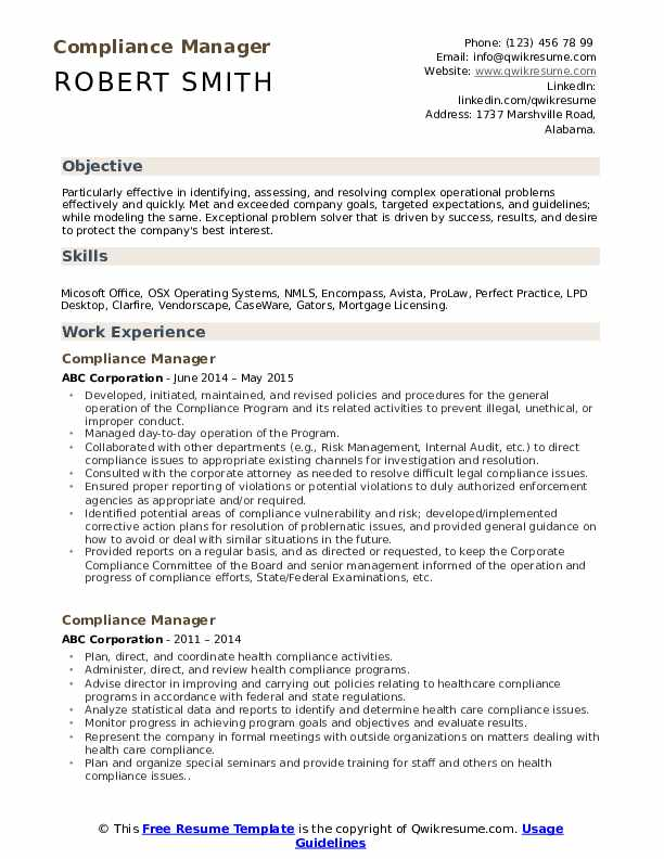 compliance manager resume samples qwikresume officer template pdf rn case objective Resume Compliance Officer Resume Template