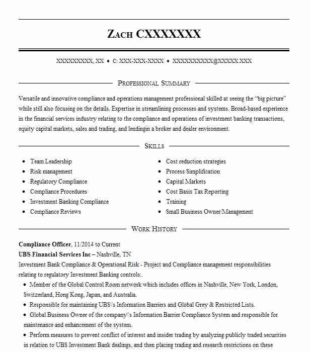 compliance officer resume example resumes livecareer template receptionist duties piping Resume Compliance Officer Resume Template