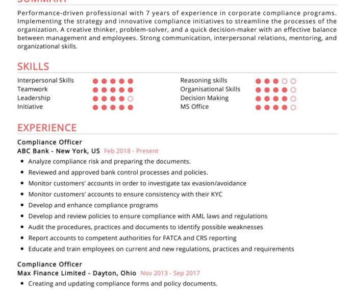 compliance officer resume examples cv sample resumekraft 913x750 types of experience for Resume Compliance Officer Resume Template