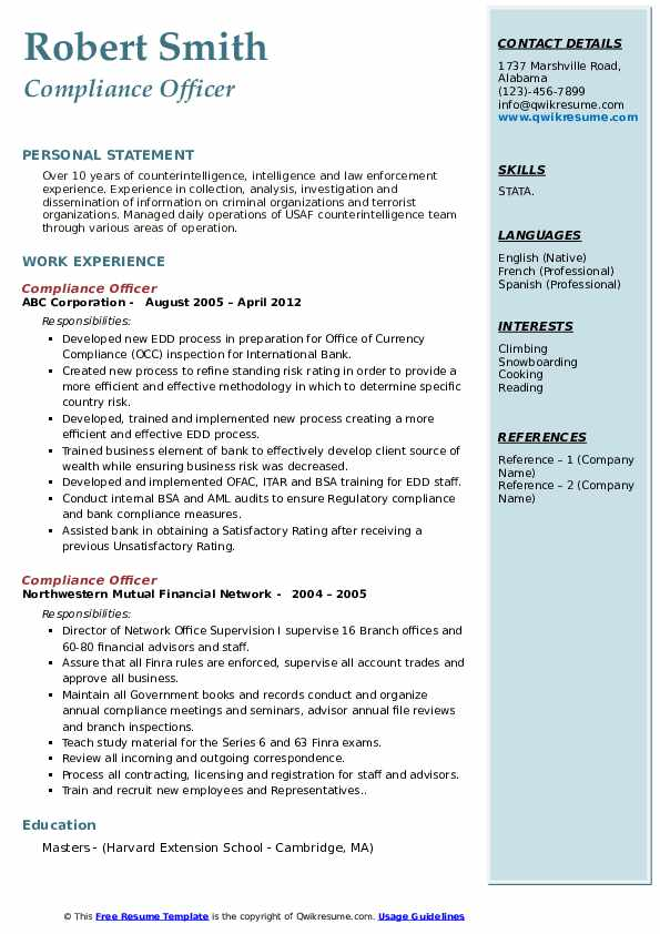 compliance officer resume samples qwikresume template pdf achievements examples building Resume Compliance Officer Resume Template