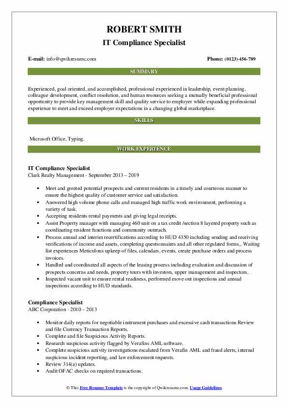compliance specialist resume samples qwikresume pdf best templates for students Resume Compliance Specialist Resume