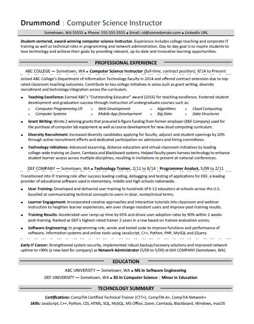computer science resume sample monster template clinical internship military transition Resume Computer Science Resume Template