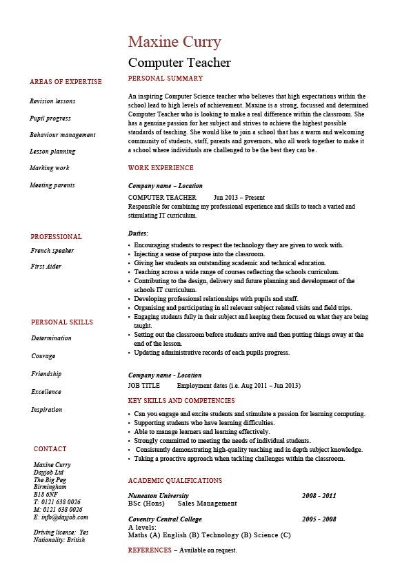 computer teacher resume example sample it teaching skills classroom job school work for Resume Resume For Education Jobs