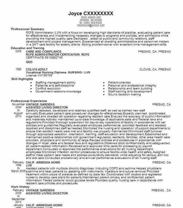 concierge receptionist for assisted living resume example norumbega point rhode duties Resume Assisted Living Duties Resume