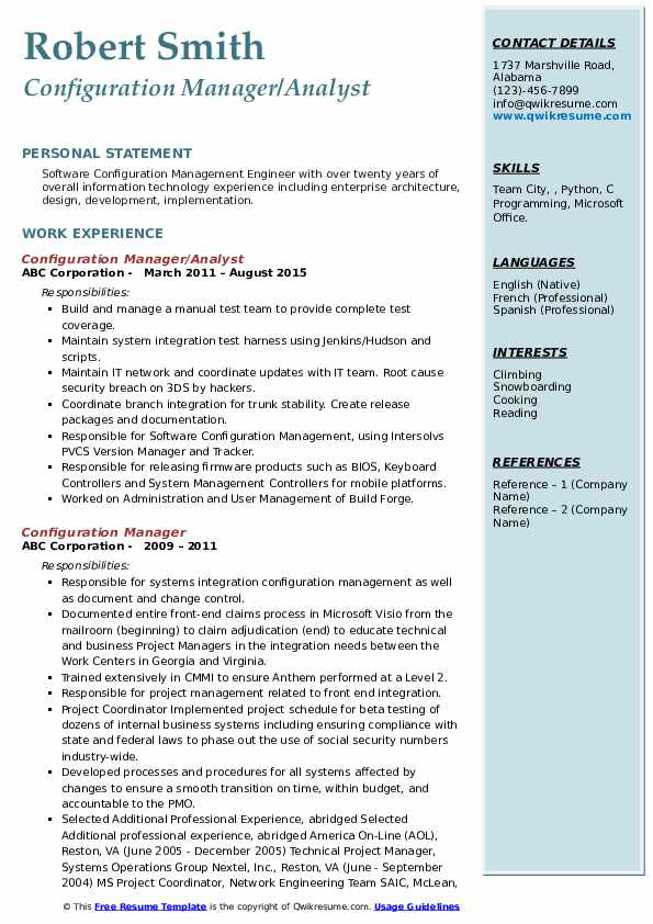 configuration manager resume samples qwikresume management examples pdf perfect template Resume Configuration Management Resume Examples