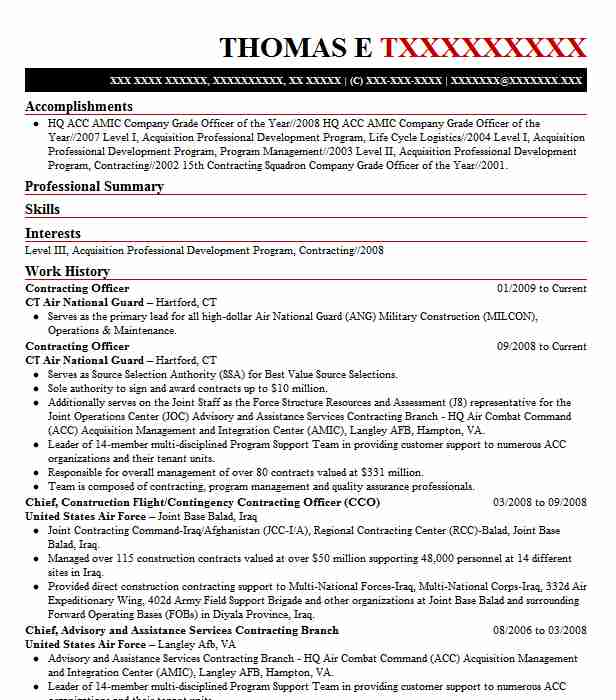contracting officer resume example resumes livecareer government of employee personal Resume Government Contracting Officer Resume