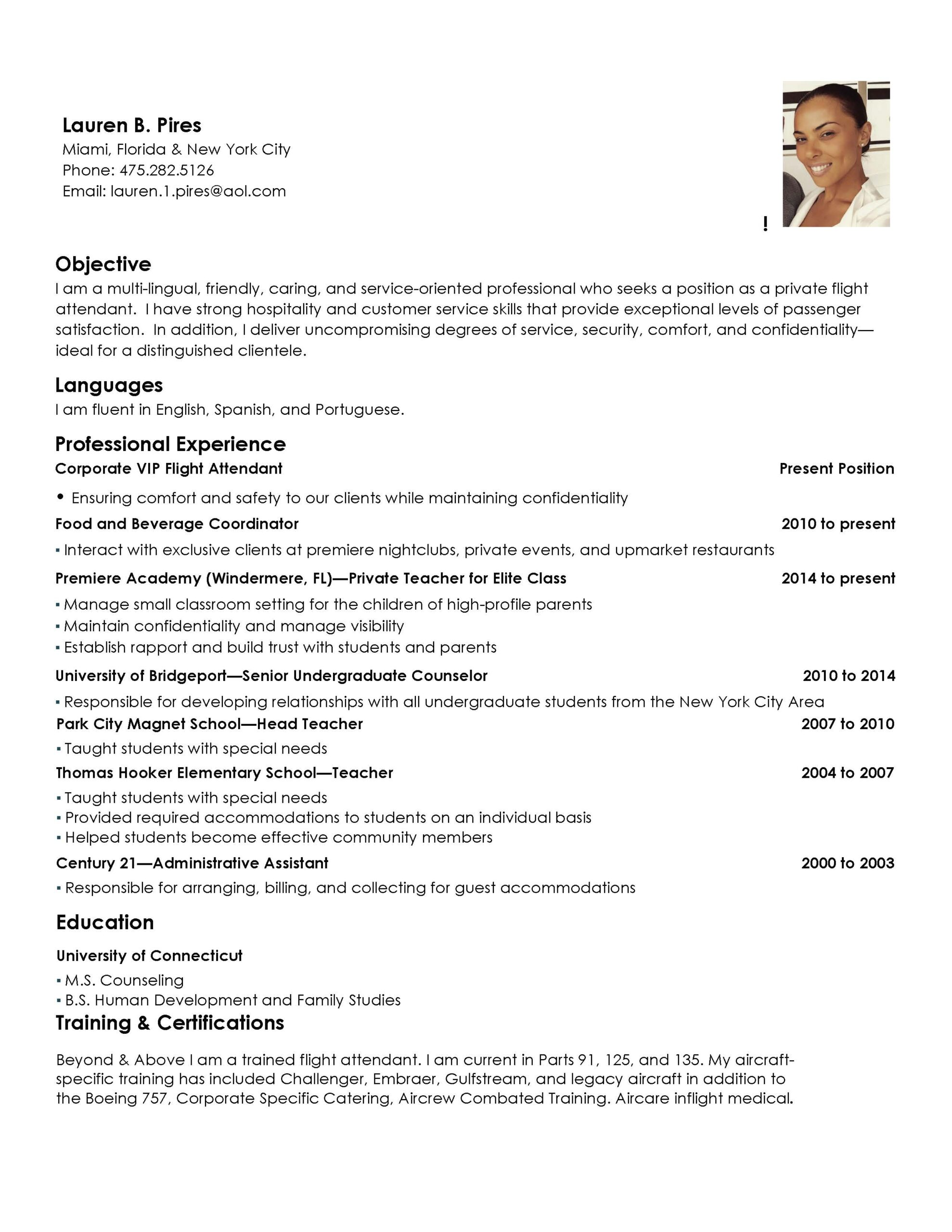 corporate flight attendant resume pdf format database org personal care assistant sample Resume Flight Attendant Resume