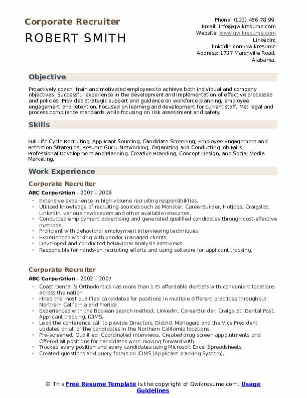 corporate recruiter resume samples qwikresume free search for recruiters pdf contemporary Resume Free Resume Search For Recruiters