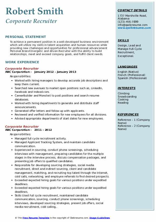 corporate recruiter resume samples qwikresume free search for recruiters pdf mba Resume Free Resume Search For Recruiters