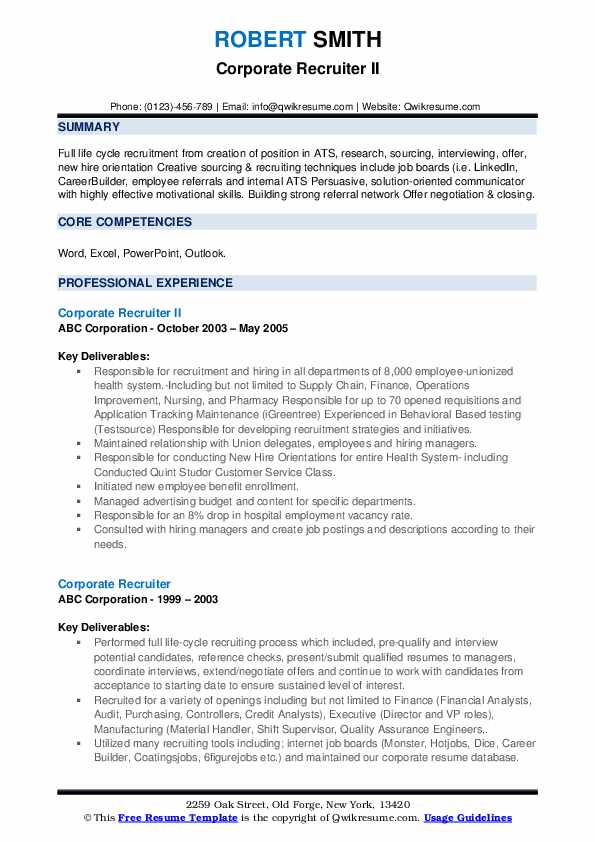 corporate recruiter resume samples qwikresume free search for recruiters pdf welder Resume Free Resume Search For Recruiters