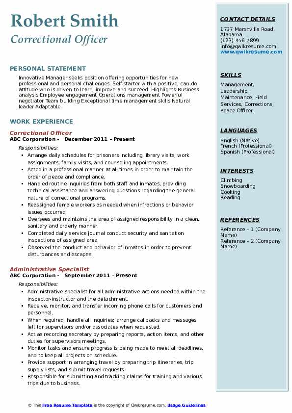 correctional officer resume samples qwikresume federal pdf industrial format volleyball Resume Federal Correctional Officer Resume