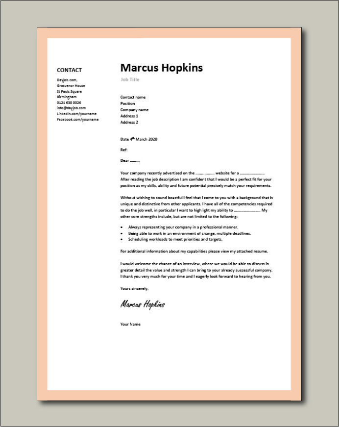 cover letter examples for different job roles in dayjob free resume general template Resume Free Printable Cover Letters For Resumes