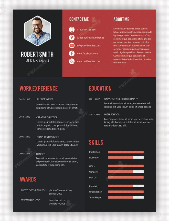 creative professional resume template free psdfreebies unique awesome templates hot Resume Awesome Resume Templates Free