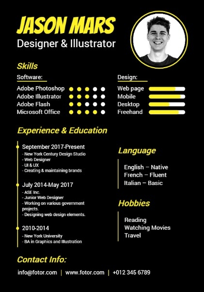 creative resume builder design outstanding personalized resumes for free fotor thumb Resume Creative Resume Builder
