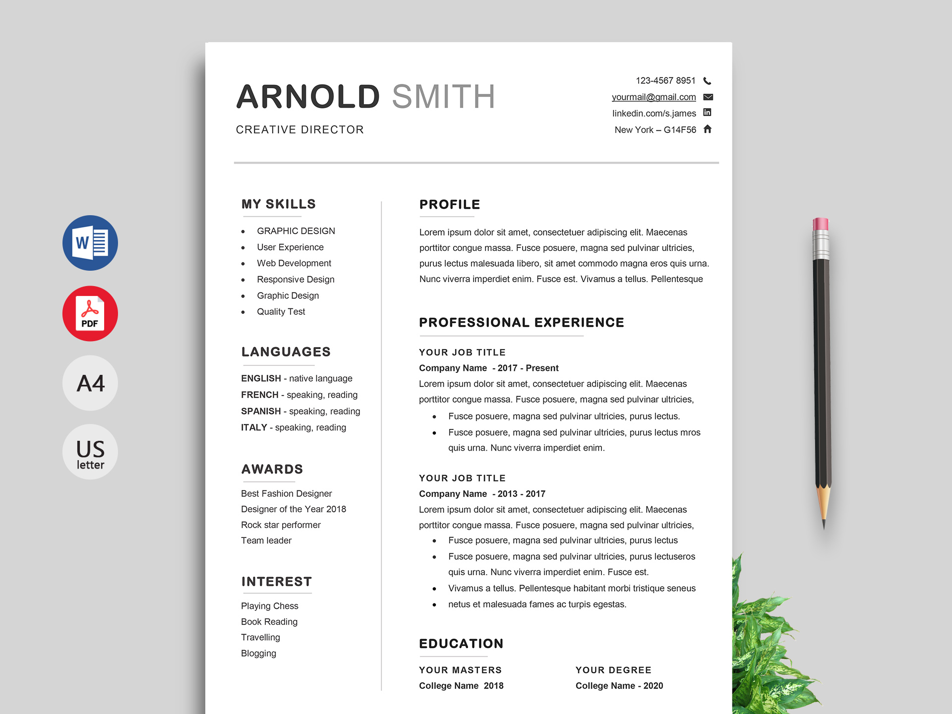 creative resume cv template free resumekraft templates editable word standard format for Resume Free Creative Resume Templates Editable