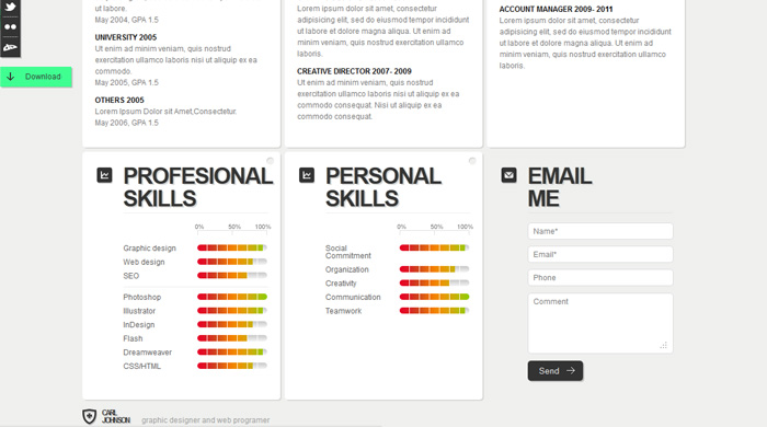 creative web resume template pixeden skills for clean style cv payroll healthcare Resume Creative Skills For Resume