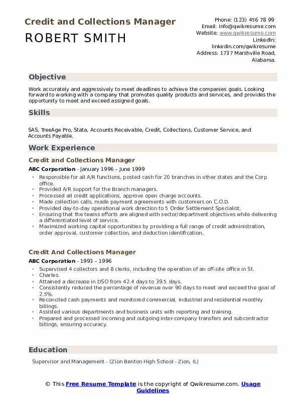 credit and collections manager resume samples qwikresume free addendum template pdf Resume Free Resume Addendum Template