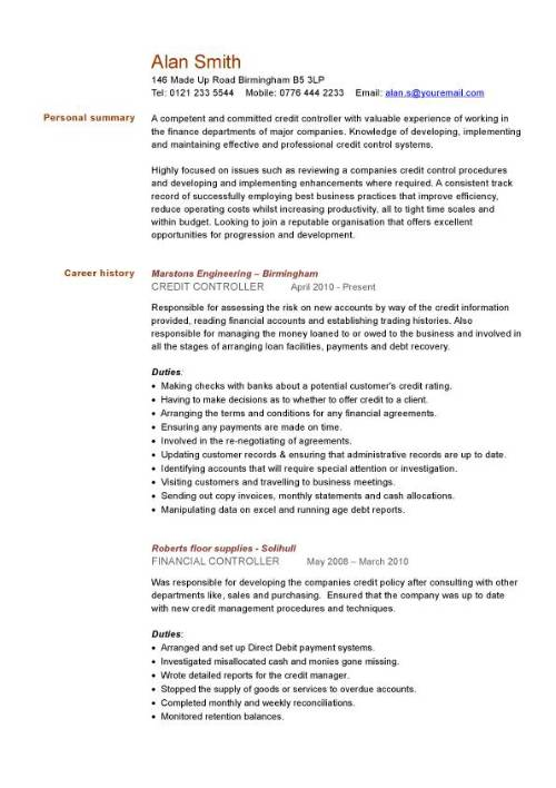 credit controller cv sample managing information or general administration support resume Resume Financial Controller Resume Summary