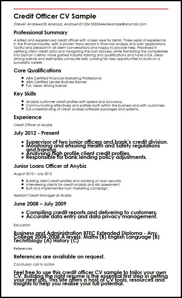 credit officer cv example myperfectcv sample resume for college graduate and writing tips Resume Sample Resume For Credit Officer