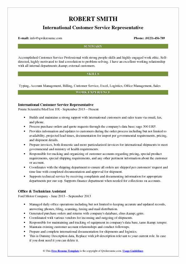 customer service resume samples examples and tips summary for international Resume Resume Summary Examples For Customer Service