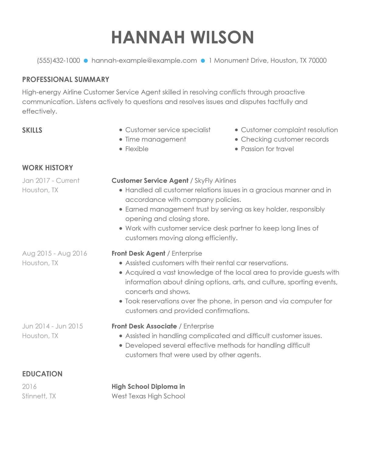 customize our customer representative resume example service rep airline agent sample Resume Customer Service Rep Resume