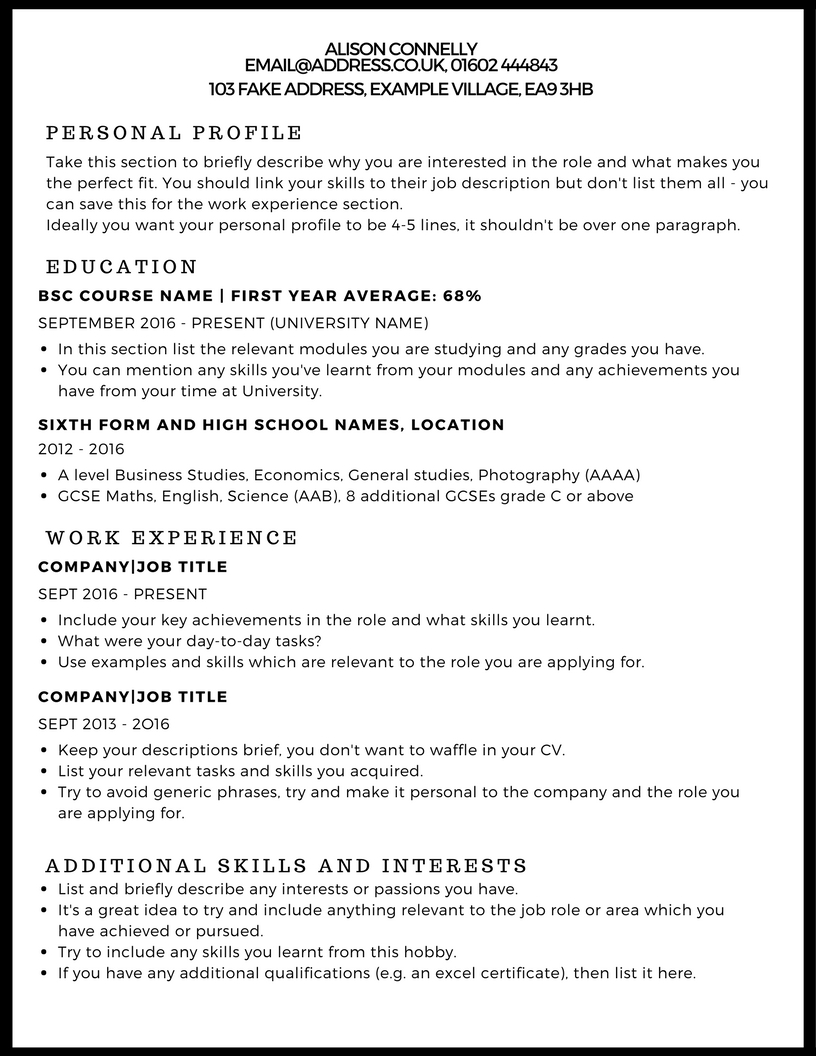cv example studentjob ie should you put personal interests on resume copy of sim free Resume Should You Put Personal Interests On Resume