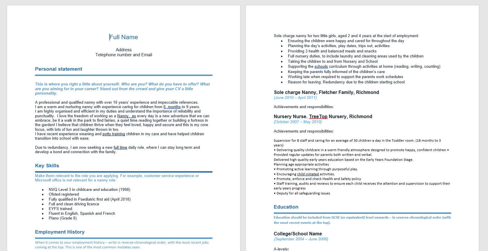 cv for nannies made easy our handy nanny template absolute childcare job duties resume Resume Nanny Job Duties For Resume