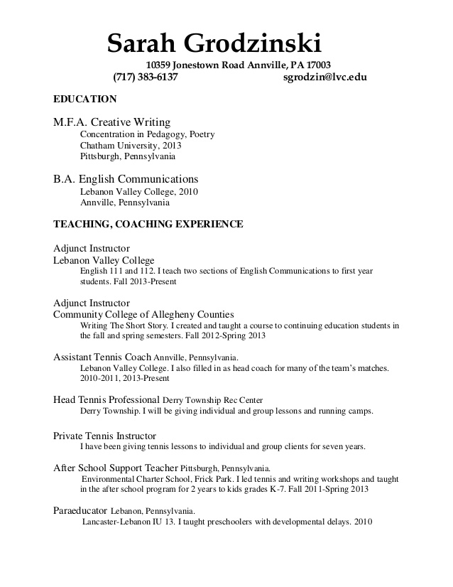 cv grodzinski tennis resume for college staffing specialist job description adjectives Resume Tennis Resume For College