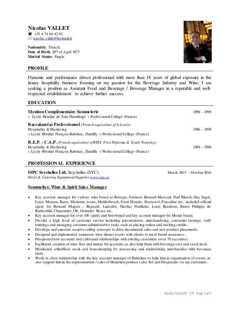 cv nicolas vallet professional hotelier resume thumbnail human intelligence collector the Resume Professional Hotelier Resume