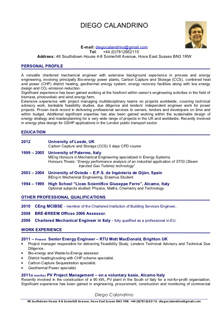 cv of diego calandrino renewable energy consultant senior project sample resume for Resume Sample Resume For Energy Engineer