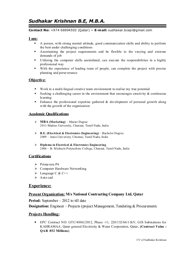 cv of electrical engineer projects with years experience in proj tendering resume project Resume Tendering Engineer Resume