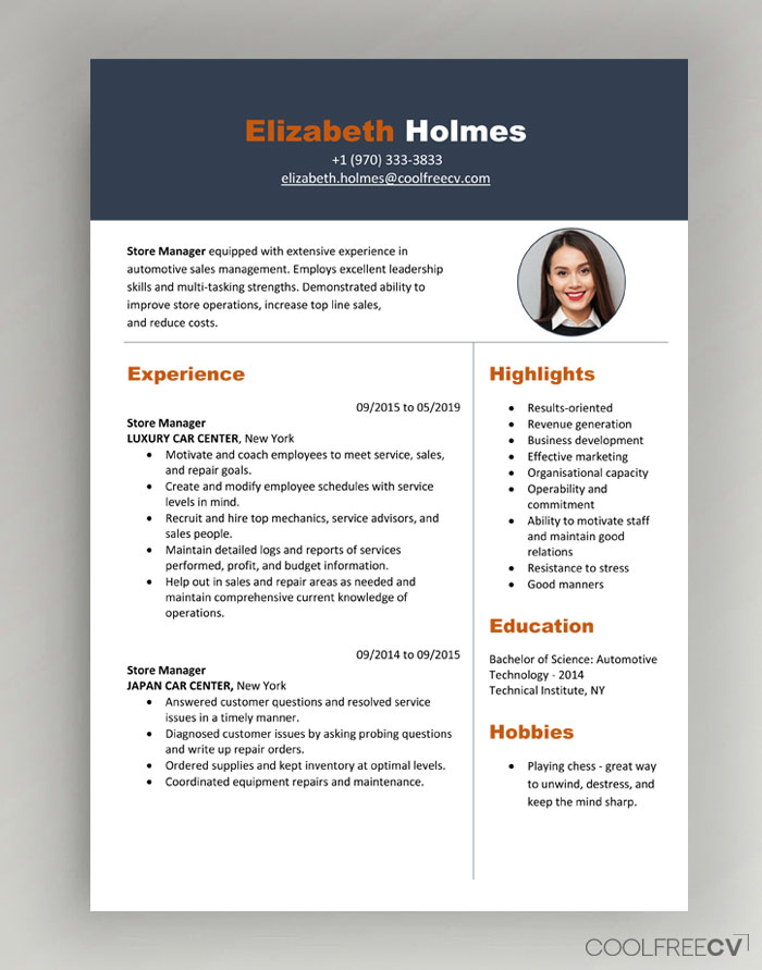 cv resume templates examples word format for job interview modern with photo01 embedded Resume Resume Format For Job Interview