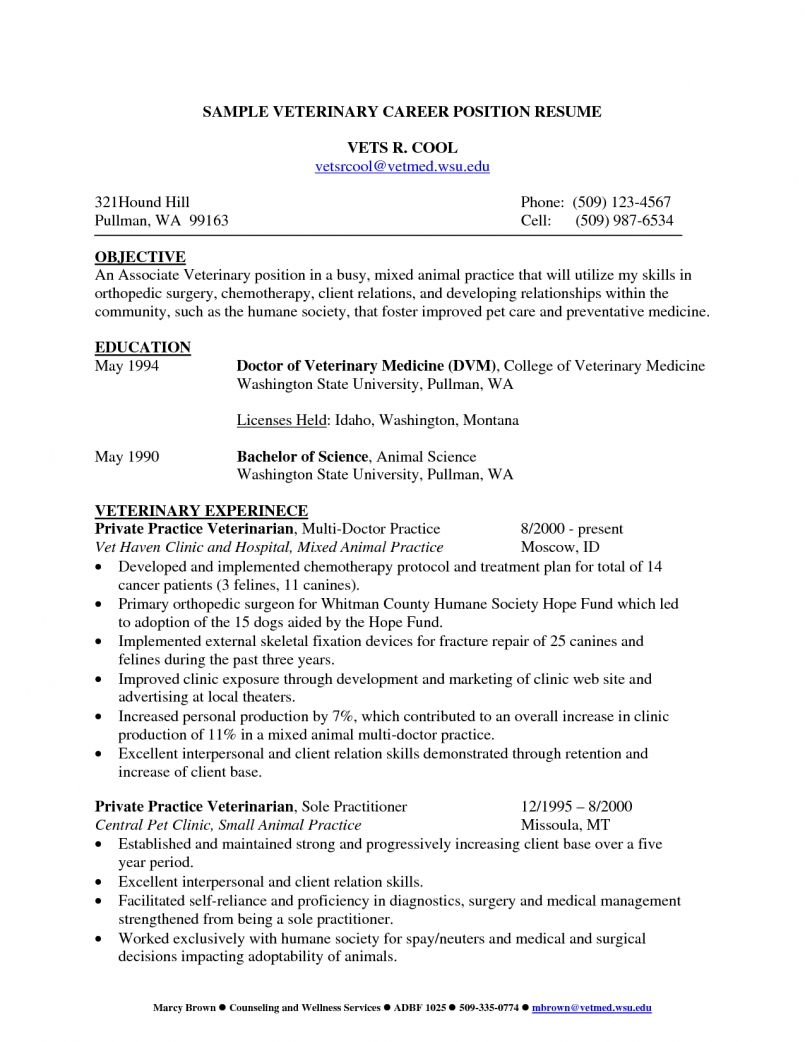 cv template veterinary student resume examples medical format for veterinarians email Resume Resume Format For Veterinarians
