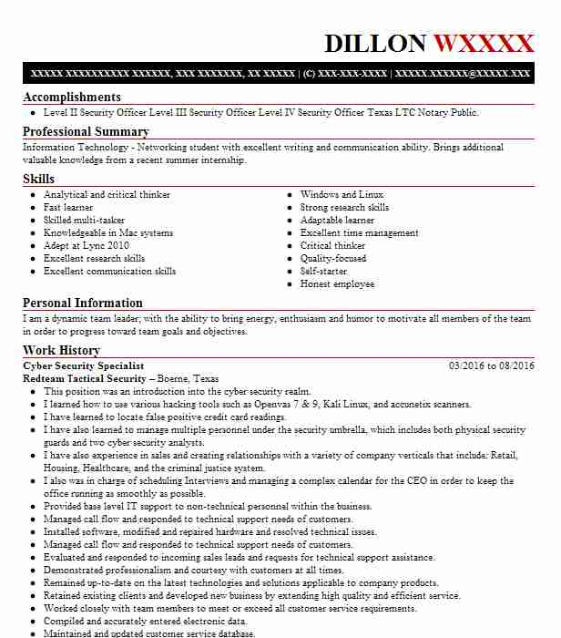 cyber security specialist resume example it resumes livecareer cybersecurity examples Resume Cybersecurity Resume Examples